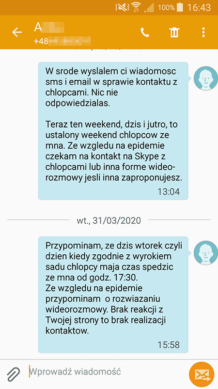 kontakty zdalne wiadomość sms