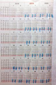 kalendarz weekendy zaznaczone