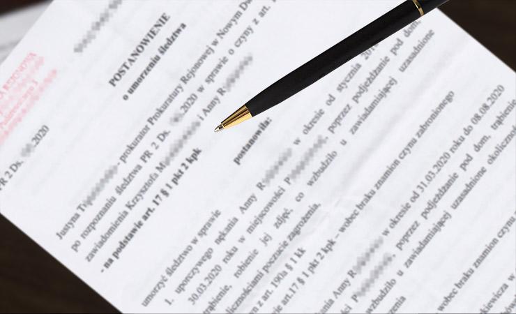 Udostępnienie postanowienia o umorzeniu dochodzenia z prokuratury